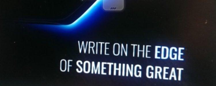 Note 7 Edge screan teasera z napisem