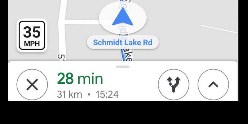 Ograniczenia prędkości w Google Maps